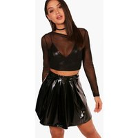 Vinyl Box Pleat Skater Skirt - black