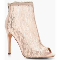 Peeptoe Lace Fray Detail Shoe Boot - nude