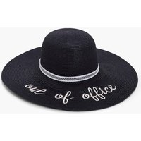 Out Of Office Straw Floppy Hat - black