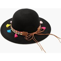 Tassel And Aztec Felt Floppy Hat - black