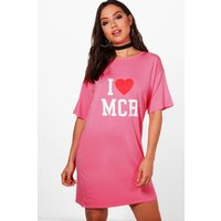I Love Manchester Oversized T-Shirt Dress - pink