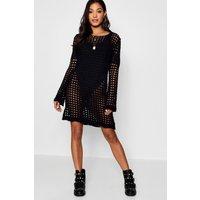 Crochet Bell Sleeve Dress - black