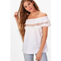 Woven Off The Shoulder Crochet Trim Top - white