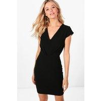 V-Neck Short Sleeve Fitted Dress - black