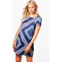 Geo Print Shift Dress - blue