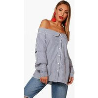Woven Stripe Off The Shoulder Top - blue