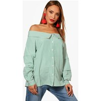 Woven Stripe Off The Shoulder Top - green