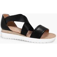 Elastic Strap Cleated Sandal - black