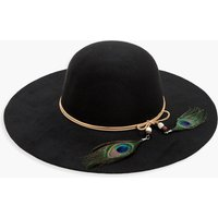Peacock Trim Floppy Hat - black