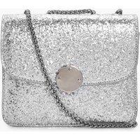 Sequin Metal Clasp Cross Body Bag - silver