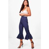 Polka Dot Ruffle Hem Woven Trousers - navy