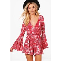 Womens Wrap Paisley Playsuit - Red - 14, Red