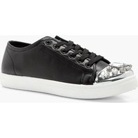 Embellished Toe Cap Trainer - black
