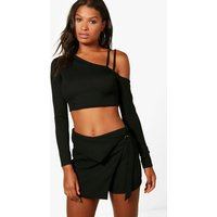 Double Strap One Shoulder Crop - black