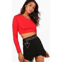 Double Strap One Shoulder Crop - red