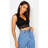 Womens Lace Wrap Front Crop Top - black - 8, Black