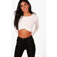 Wrap Front Rib Long Sleeve Crop Top - ivory