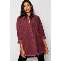Womens Raw Edge Oversized Cord Shirt - Purple - 14, Purple