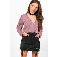 V Neck Side Split Gingham T-Shirt - burgundy