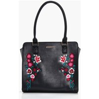 Embroidery Structured Tote - black