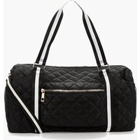 Quilted Nylon & Webbing Holdall - black