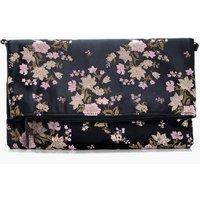 Oriental Foldover Clutch Bag - black