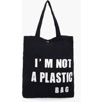 Slogan Canvas Shopper Bag - black