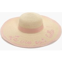 Slogan Summer Floppy Hat - natural