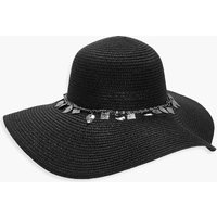 Coin Trim Floppy Hat - black