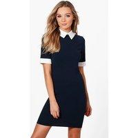Contrast Collar & Cuff Dress - navy