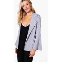 Oversized Flare Sleeve Blazer - grey