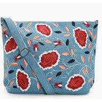 Denim Embroidery Cross Body Bag - blue