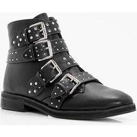 Studded Strap Ankle Boot - black