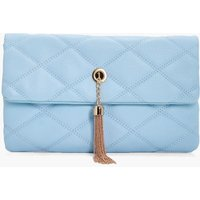 Quilted Metal Tassel Cross Body Bag - pale blue