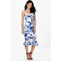 Peplum Hem Blue Print Midi Dress - multi