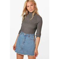 Rib Knit Roll Neck Jumper - grey marl
