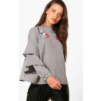Gingham Embroidered Ruffle Blouse - black