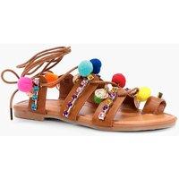 Pom & Coin Embellished Sandal - tan