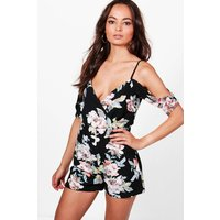 Floral Cold Shoulder Playsuit - black