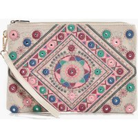 Mirrored Embroidery Oversize Clutch - white