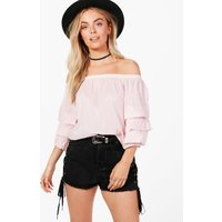 Ruffle Sleeve Off The Shoulder Top - pink