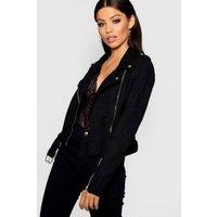 Womens Premium Faux Suede Biker Jacket - black - L, Black