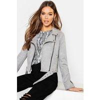 Womens Premium Faux Suede Biker Jacket - Grey - L, Grey