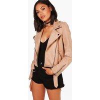 Womens Premium Faux Suede Biker Jacket - Brown - S, Brown