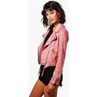 Premium Vegan Suede Biker Jacket - rose