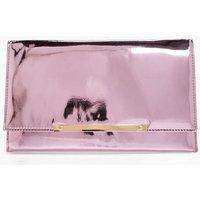Metal Bar Mirror Clutch - pink