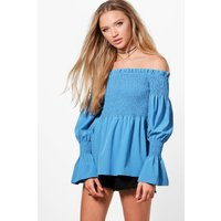 Woven Shirred Top - blue