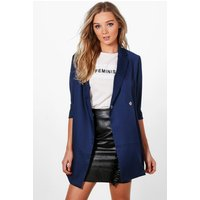 Woven Tailored Longline Blazer - navy