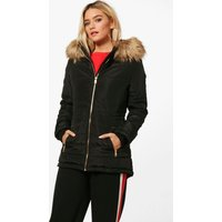 Womens Quilted Jacket With Faux Fur Trim - Black - 14, Black