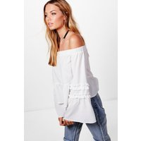Woven Ruffle Off The Shoulder Top - ivory